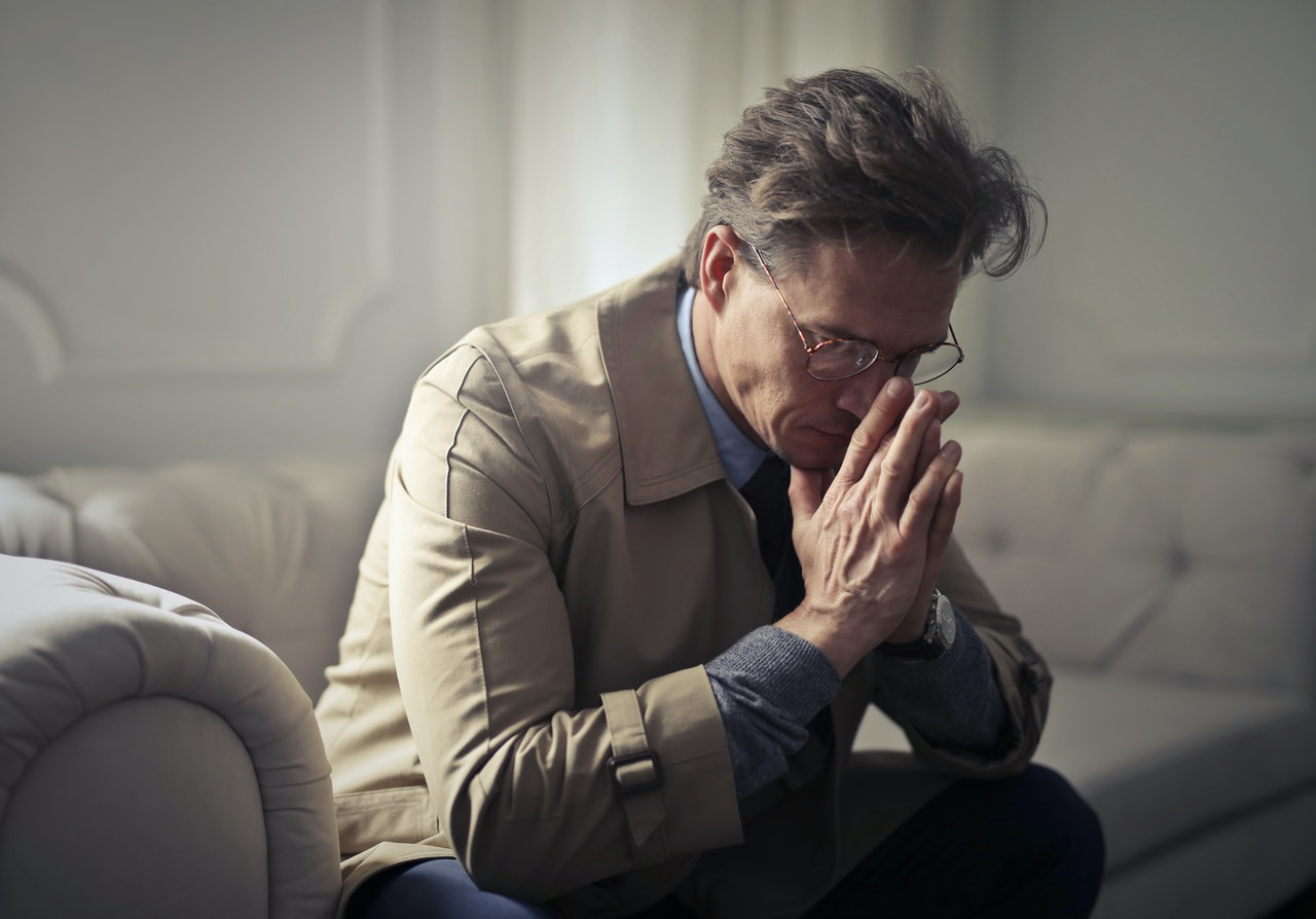 Businessman suffering from financial stress