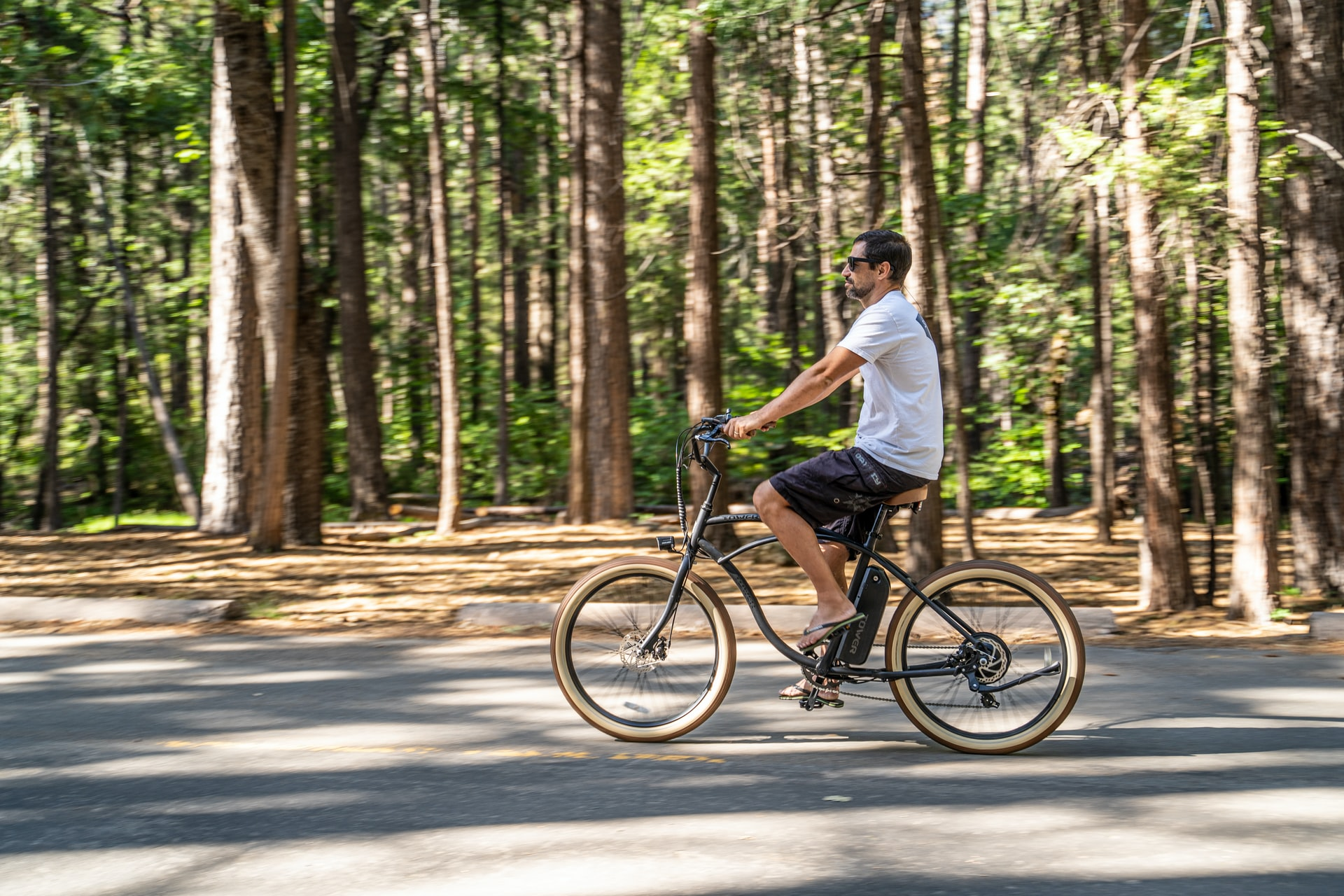 Man riding an e-bike at the park